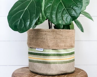 SALE - Pot Plant Cover - Terrace Green Stripe Reversible Hessian