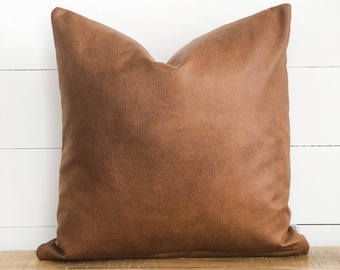 Cushion Cover - Tan Faux Leather