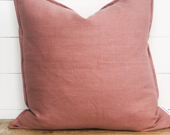 Cushion Cover - Blush Pink 100% Washed European Linen With Flange