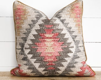 Cushion Cover - Afghan Tribal with mustard linen piping