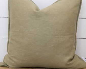 Cushion Cover - Olive 100% Washed European Linen with Flange