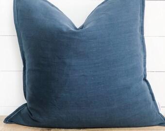SECONDS - Cushion Cover - Navy 100% European Linen Seconds