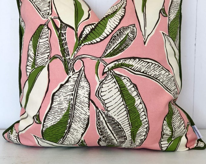 SALE - Jungle Jive Indoor/Outdoor Cushion Cover with green Piping