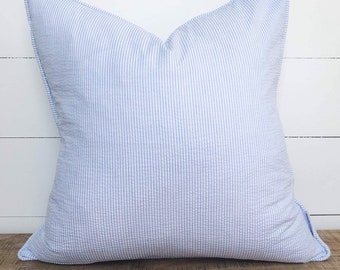 Cushion Cover - Pinstripe Blue with piping