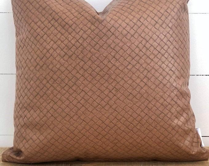 Cushion Cover - Tan Rustica Faux Leather