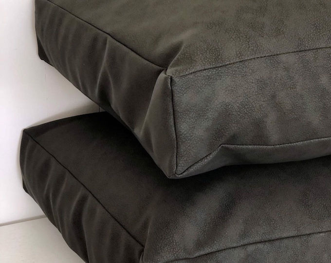 CLEARANCE** Black Faux Leather Square Floor Cushion Cover