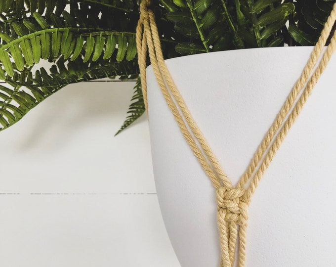 Mustard Macrame Plant Hanger with 4mm Cotton Cord