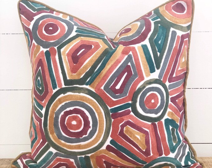 Cinnabar Cushion Cover with Camel linen piping