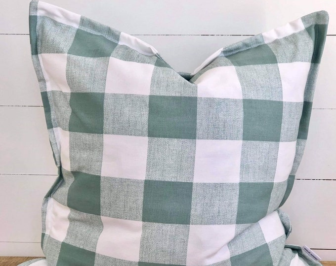 Aqua Check Cushion Cover with 2cm Flange