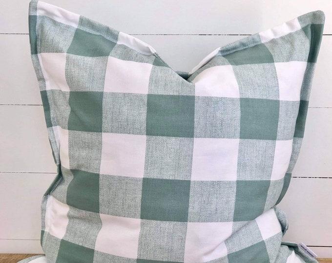 Cushion Cover - Aqua Check with Flange