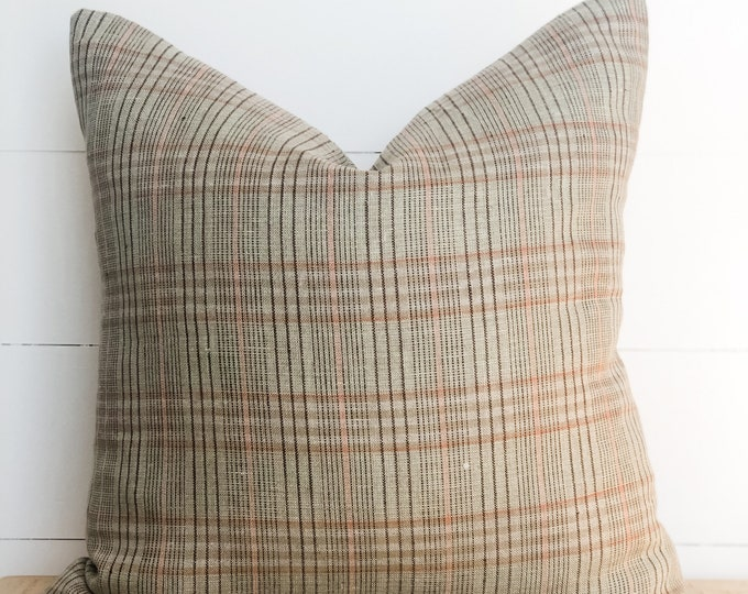 Cushion Cover - Green and pink plaid lightweight linen