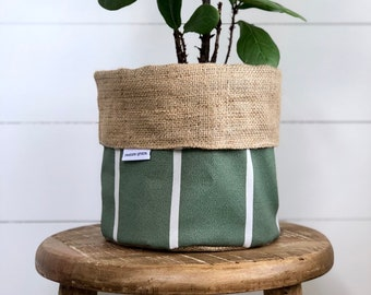 Pot Plant Cover - Sage Stripe and Hessian Reversible