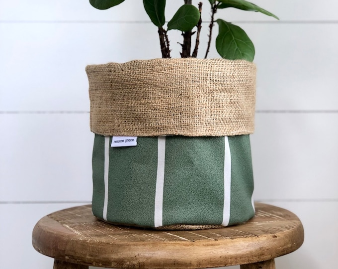 SECONDS - Sage Stripe Reversible Hessian Pot Plant Bag