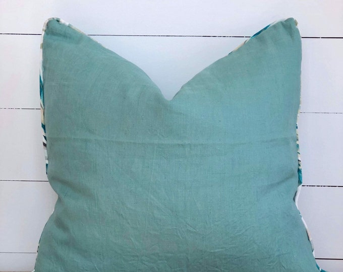 Teal Linen Cushion Cover with Heavenly Palm Piping