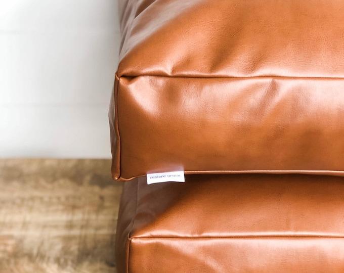 Floor Cushion Cover Tan Faux  Leather