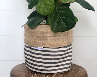 Pot Plant Cover - Charcoal Scout Stripe and Hessian Reversible