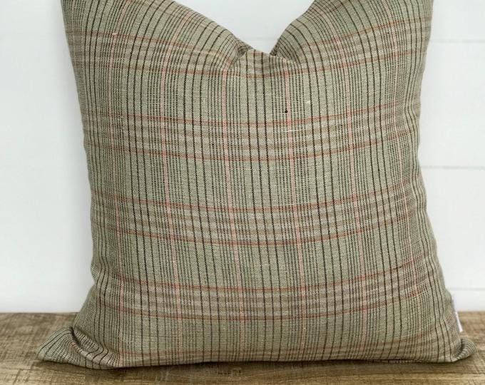 Green and pink plaid lightweight linen cushion cover