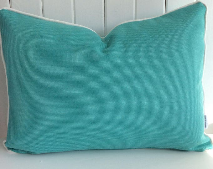 CLEARANCE** Tropical Water Aqua Teal Indoor/Outdoor Rectangle Cushion Cover with white piping