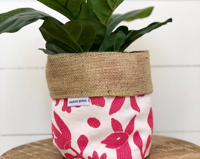 Pot Plant Cover - Pink Safari