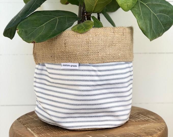 Navy Ticking Stripe Reversible Hessian Pot Plant Cover