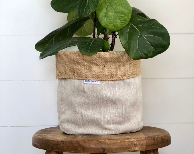 Oatmeal Linen Hessian Reversible Pot Plant Cover