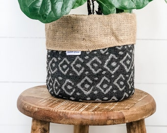 Pot Plant Cover - Onyx Remming Reversible Hessian
