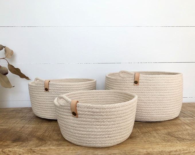 Rope Storage Bowls with tan strap