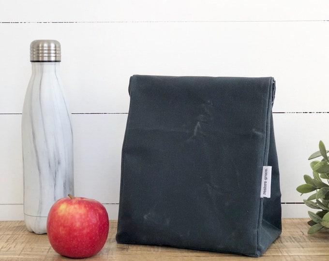 Slate Reusable Waxed Canvas Lunch Bag