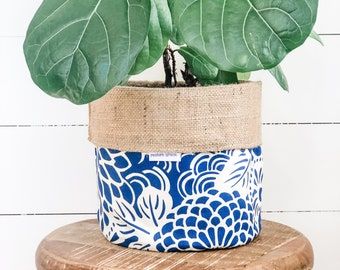 Pot Plant Cover - LIMITED EDITION China Blue Reversible Hessian