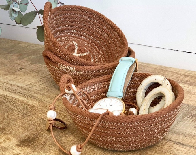 Tan hand dyed cotton Rope Jewellery  Bowls