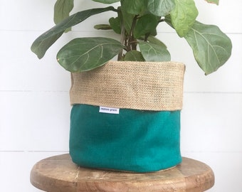 Aloe Linen Reversible Hessian Pot Plant Bag