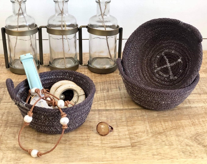 Chocolate hand dyed cotton Rope Jewellery  Bowls