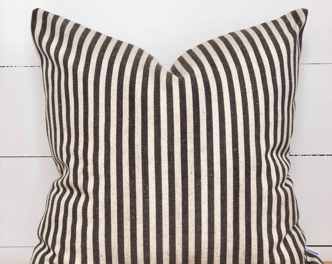 Charcoal Scout Stripe Cushion Cover