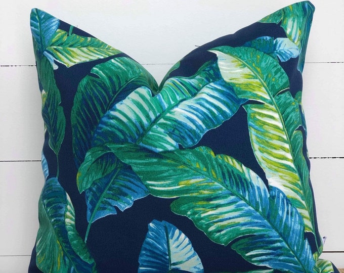 Outdoor Cushion Cover - Blue Lagoon Palms