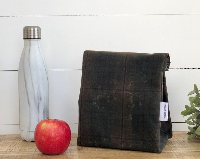 Olive Plaid Reusable Waxed Canvas Lunch Bag