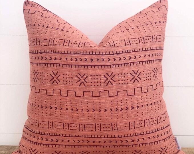 Peach Mudcloth Woven Cushion Cover