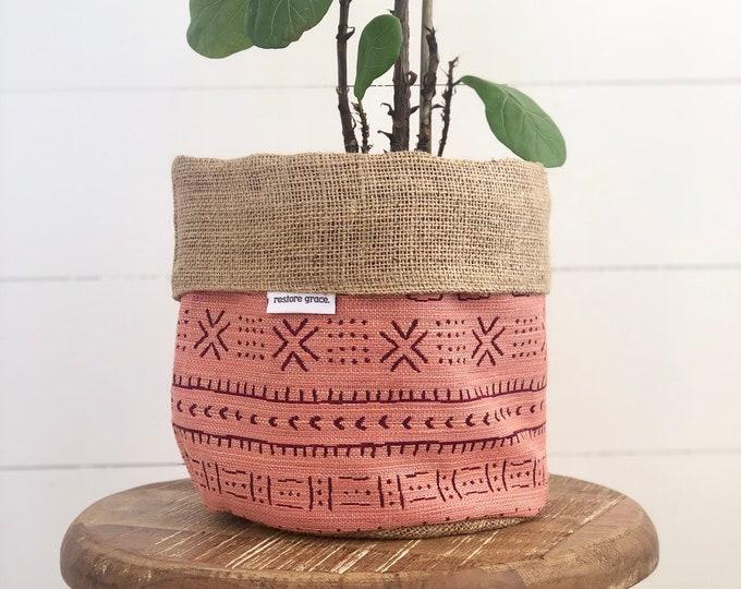 Peach Aztec Tribal Reversible Hessian Pot Plant Bag