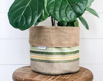 Pot Plant Cover - Terrace Green Stripe Reversible Hessian