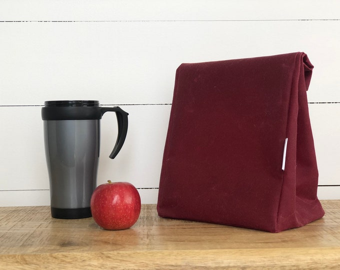 EXPRESS SHIPPING - Lunch Bag - Eco friendly Reusable Waxed Canvas Merlot (All Domestic orders ship Express until 18/11/19)