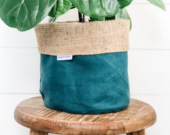 Pot Plant Cover - Spruce Linen Reversible Hessian