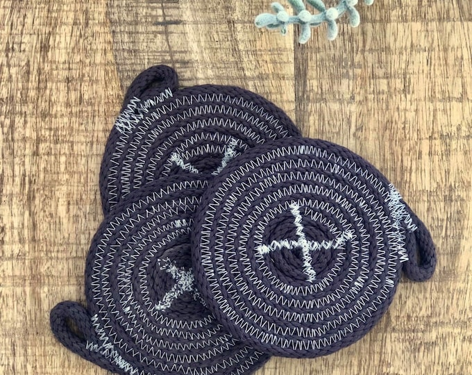 Black hand dyed Cotton Rope Coaster