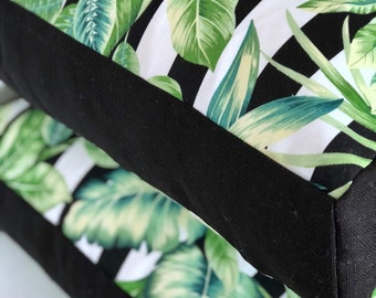 Palmetto Stripe with black panelling indoor/outdoor square floor cushion