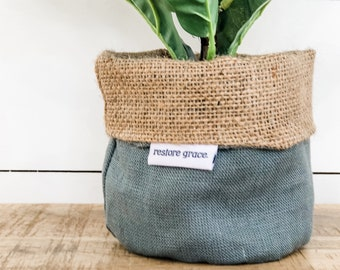 Mini Pot Plant Cover - Eucalypt Linen Reversible Hessian