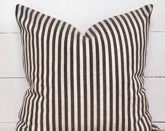 Cushion Cover - Charcoal Scout Stripe