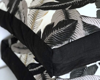 Monochrome Swaying palms with black panelling indoor/outdoor square floor cushion