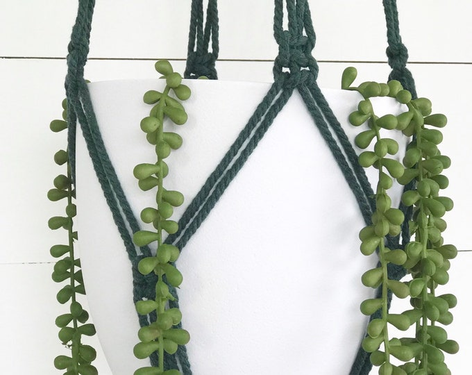Moss Green Macrame Plant Hanger with 4mm Cotton Cord