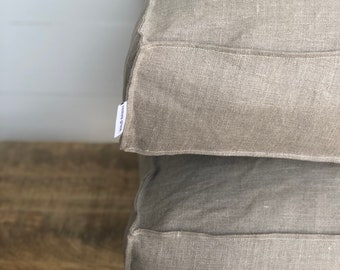 Floor Cushion Cover - Natural 100% Washed European Linen Floor Cushion Cover with Flange