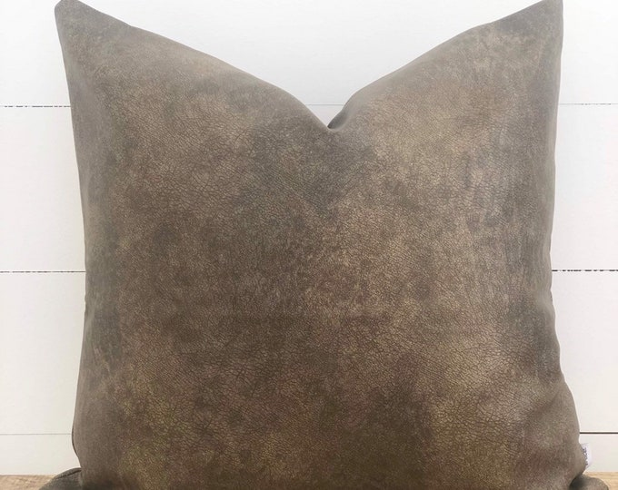 CLEARANCE** Chocolate Leather Cushion Cover