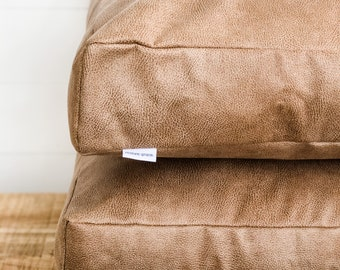 Floor Cushion Cover - Camel Faux Leather