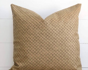 Wheat Rustica Faux Leather Cushion Cover